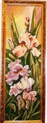"""Картина гобеленовая """"Ирис розовый""""в деревянном багете."""