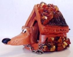 """Сувенир """"Колокольчик"""", инкрустированный янтарём. Ручная работа."""