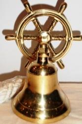 """Рында """"Штурвал"""". Высота 14 см., диаметр колокола 7,5 см.Латунь"""