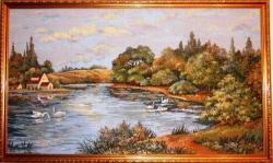 """Картина гобеленовая """"Лебеди на пруду"""" . Размер 88х49."""