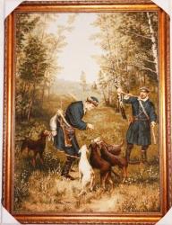"Картина гобеленовая ""Охотники на зайцев""."