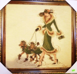"Картина гобеленовая  ""Дама в зелёном"". Размер 53х53."