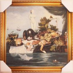 "Картина гобеленовая ""Обед для Айвазовского"". Размер 80х80."