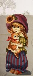 """Картина гобеленовая """"Девочка с зайчиком"""""""