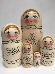 Матрёшка раскраска. Комплект из пяти кукол. Высота 20-21см
